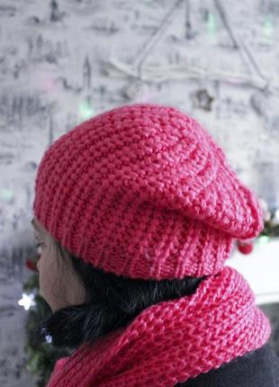 Комплект ярко-розового вязаного шарфа и шапки от h&m3