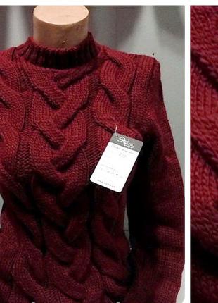 Теплый свитер под горло ,вязаный гольф-водолазка плотной вязки ,универсал,6 цветов2 фото