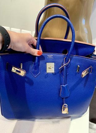Яркая синяя сумка hermès birkin телячья натуральная кожа2