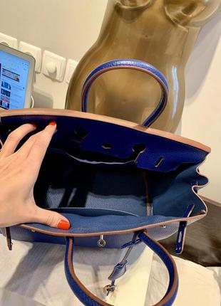 Яркая синяя сумка hermès birkin телячья натуральная кожа3