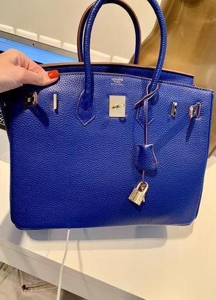Яркая синяя сумка hermès birkin телячья натуральная кожа5