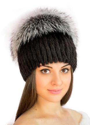 """Шикарная,меховая шапка на вязаной основе """"парик"""", ондатра + чернобурка,натур мех1"""
