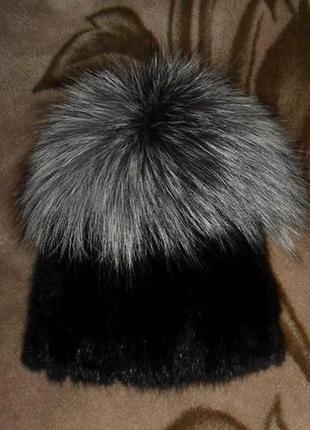 """Шикарная,меховая шапка на вязаной основе """"парик"""", ондатра + чернобурка,натур мех3"""