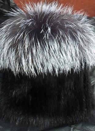 """Шикарная,меховая шапка на вязаной основе """"парик"""", ондатра + чернобурка,натур мех4"""