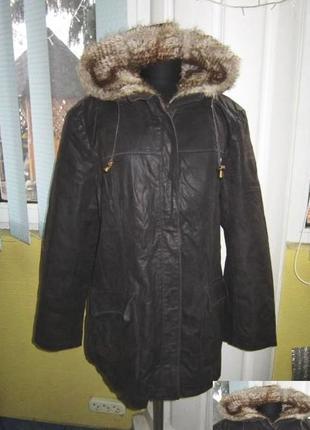 Утеплённая женская кожаная куртка  с капюшеном joy. лот 336