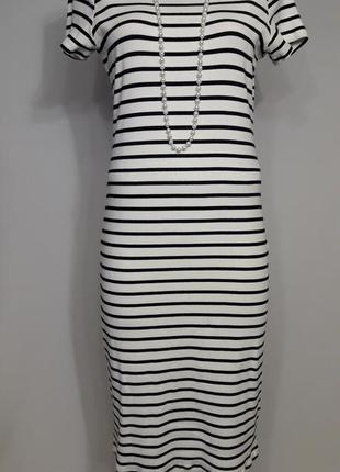 Полосатое платье миди1