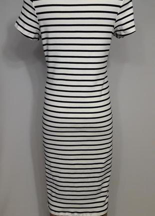 Полосатое платье миди3 фото
