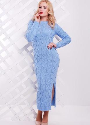 Женское длинное вязаное платье косой (42-48 , много цветов)3