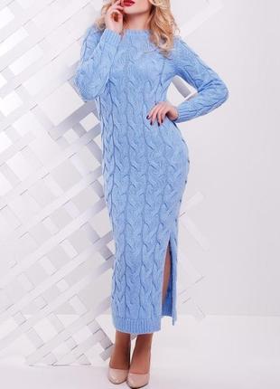 Женское длинное вязаное платье косой (42-48 , много цветов)1