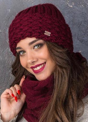 Теплый,зимний набор ,шапка+шарф ,отличное качество ,разные цвета1