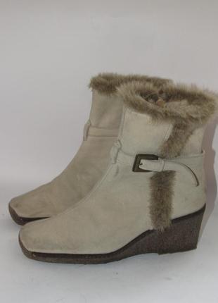 Janet d. германия кожаные зимнее женские ботинки на танкетке 41р ст.26,5см m29
