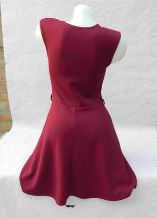 Платье в рубчик винный цвет марсала бордо s/m2