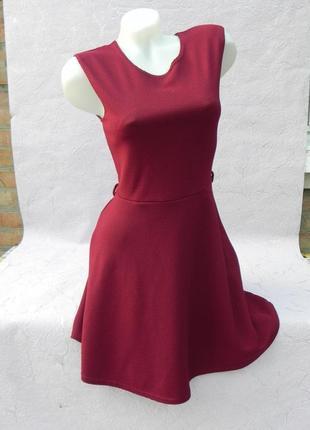 Платье в рубчик винный цвет марсала бордо s/m1