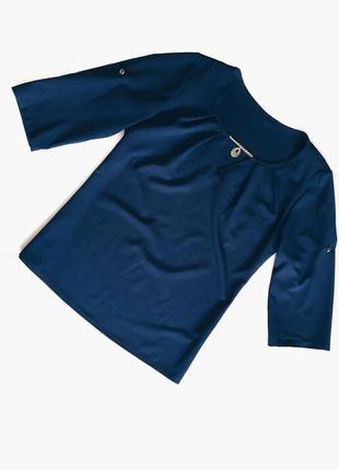 Шикарная синяя блуза(блузка) идеал! s-m размер1