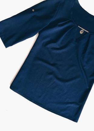 Шикарная синяя блуза(блузка) идеал! s-m размер2