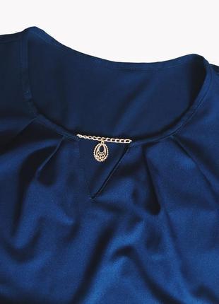 Шикарная синяя блуза(блузка) идеал! s-m размер5