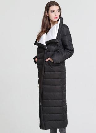 S (42/44) стильный длинный зимний пуховик пальто одеяло 90% пух basic vogue