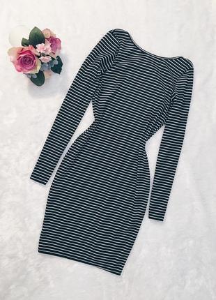 Шикарное новое платье в полоску в рубчик с вырезом m-l1