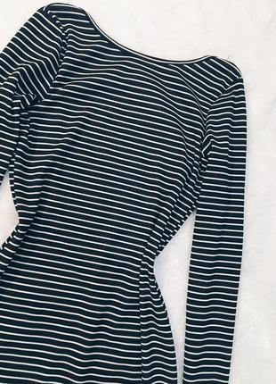 Шикарное новое платье в полоску в рубчик с вырезом m-l2