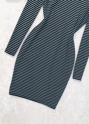 Шикарное новое платье в полоску в рубчик с вырезом m-l3