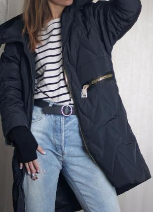 S (42/44) невероятный стильный зимний пуховик оверсайз одеяло 80% пух basic vogue