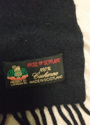 Темно-синий шотландский  кашемировый шарф   мужской