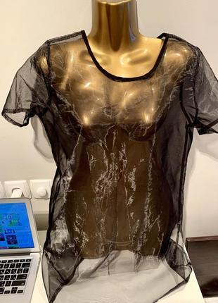 Шикарная блузка туника органза дизайнерская gf ferre