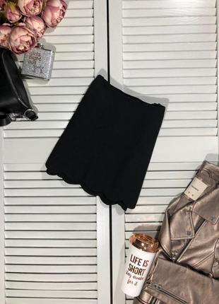 🌿 sale! базовая, черная мини юбка с волнистым низом от asos2 фото