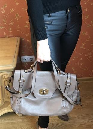 Кожаный женский портфель-сумка