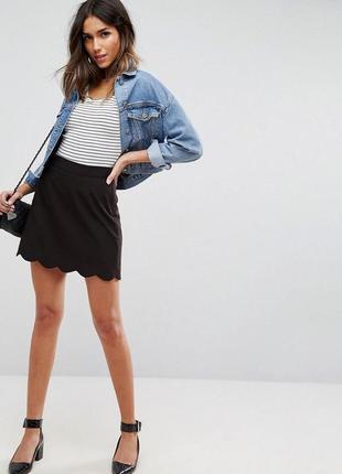 🌿 sale! базовая, черная мини юбка с волнистым низом от asos5 фото