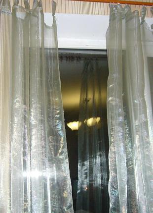 Занавески 2 шт. серые из переливающейся органзы