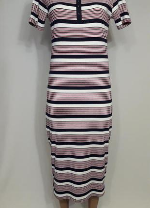 Полосатое платье миди1 фото