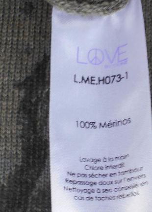 Трикотажный шерстяной свитер  джемпер с рисунком на спинке с длинным рукавом2 фото
