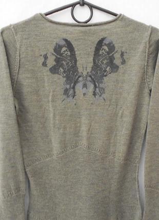 Трикотажный шерстяной свитер  джемпер с рисунком на спинке с длинным рукавом4 фото