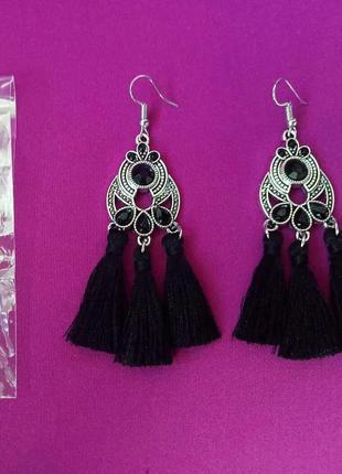 Черные серьги-кисточки сережки длинные кисти3