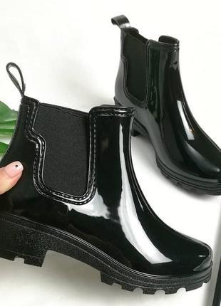 Стильные резиновые сапоги челси сапожки для дождя 23,5 см по стельке 36 или 37р