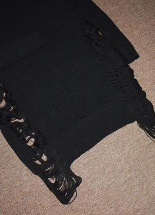 Черный длинный свитер крупной вязки с рваниной, оверсайз2