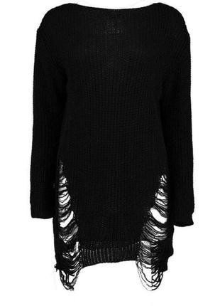 Черный длинный свитер крупной вязки с рваниной, оверсайз1