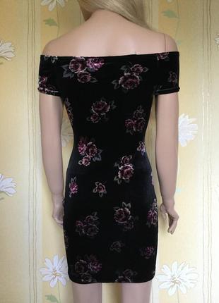 Платье бархатное в цветы с открытыми плечами по фигуре atmosphere 8/12 размеры2