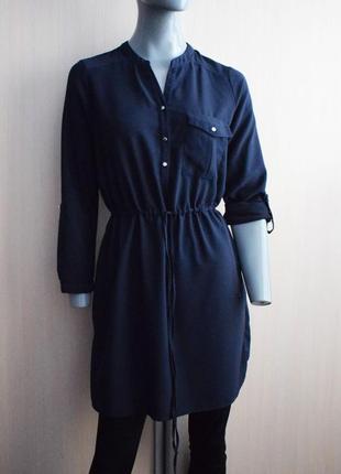Темно-синее платье-рубашка на кулиске1