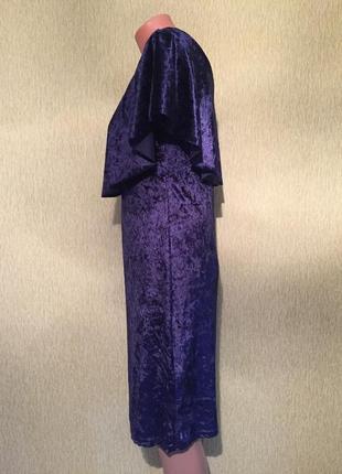 Платье бархатное на плечи волан италия 10 размер3
