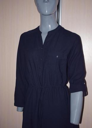 Темно-синее платье-рубашка на кулиске3