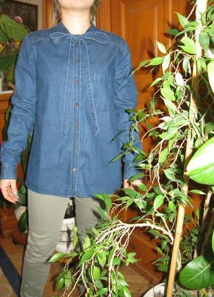 Туника рубашка c бантом джинсовая блуза tom tailor р. s