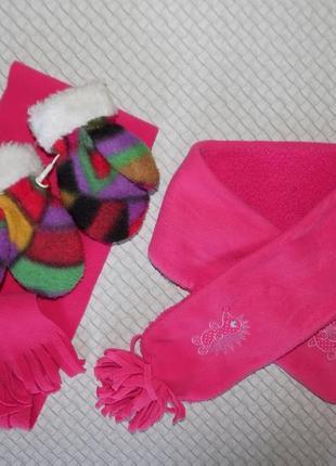 Тёплый зимний комплект, варежки, шарф