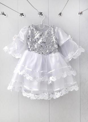 Супер нарядное платье снежинка / снегурочка (паетки / дождик / наряд / утренник)1