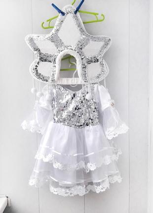 Супер нарядное платье снежинка / снегурочка (паетки / дождик / наряд / утренник)3