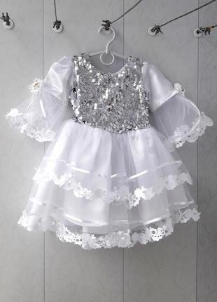 Супер нарядное платье снежинка / снегурочка (паетки / дождик / наряд / утренник)2