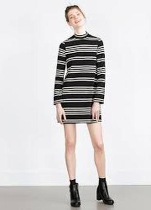 Платье в полоску с горлом4