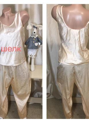 Шелковая пижама шелковая майка+ шелковые штаны натуральный шелк 100% denasu1 фото