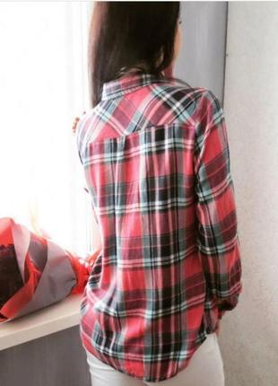 Рубашка в клетку тёплая с удлинением по спинке3 фото